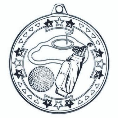 Golf 'Tri Star' Medal - Silver 2In