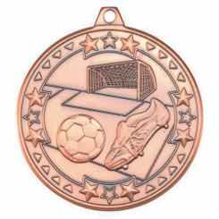 Football 'Tri Star' Medal - Bronze 2In