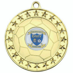Football Medal Large (1In Centre) - Gold 2.75In