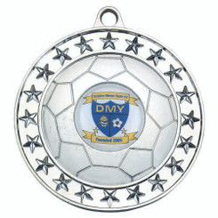 Football Medal Large (1In Centre) - Silv 2.75In
