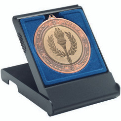Black Medal Box - Large (50/60/70Mm Recess Blue Insert) 4.75In