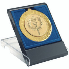 Black/Clear Medal Box - Large (50/60/70Mm Recess Blue Insert) 4.75In