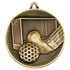 Hockey Deluxe Medal - Antique Gold 2.35In