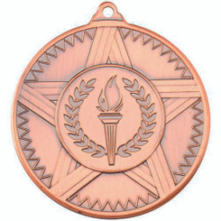 Striped Star Medal (1In Centre) - Bronze 2In