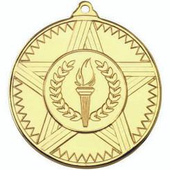 Striped Star Medal (1In Centre) - Gold 2In