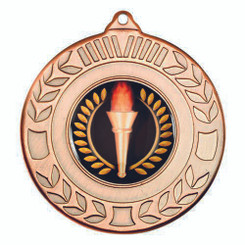 Wreath Medal (1In Centre) - Bronze 2In