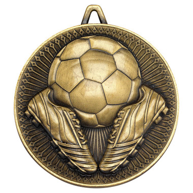 Football Deluxe Medal - Antique Gold 2.35In