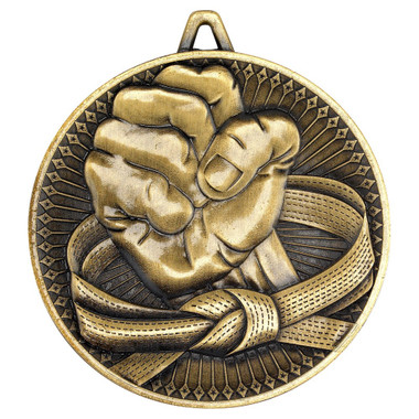 Martial Arts Deluxe Medal - Antique Gold 2.35In