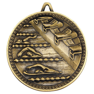 Swimming Deluxe Medal - Antique Gold 2.35In