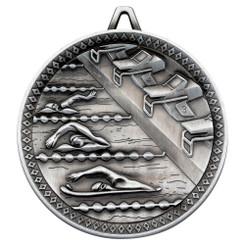 Swimming Deluxe Medal - Antique Silver 2.35In