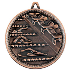 Swimming Deluxe Medal - Bronze 2.35In
