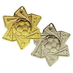 TW20-033-MD053GG / 60mm Gold Football Star Medal