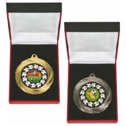 TW20-034-1226BG / 70mm Gold Football Medal in Case