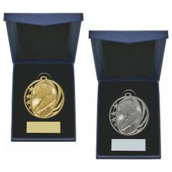 TW20-034-1227BG / 50mm Gold Boot/Ball Medal in Case