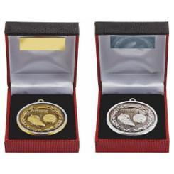 TW20-034-231BG / 50mm Diamond Edged Gold Football Medal in Case