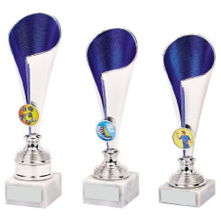 TW20-038-1039CG / Silver/Blue Sculpture Award