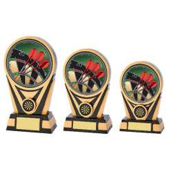 TW20-072-780ZCPG / Black/Gold Resin Darts Trophy