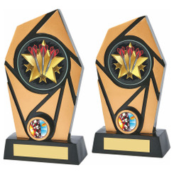 TW20-072-781ZBPG / Black/Gold Resin Darts Trophy
