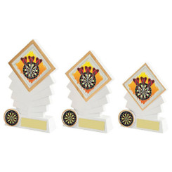 TW20-074-614ZCPG / White/Gold Resin Diamond Darts Award