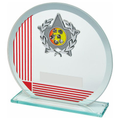 TW20-098-1295CPG / Glass Award with Red Stripe and Trim