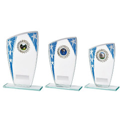 TW20-098-838CPG / Glass Award with Blue Star Design and Trim