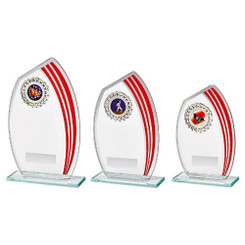 TW20-099-837CPG / Glass Sail Award with Red Stripe and Trim