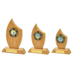 TW20-113-1114CPG / Light Oak Sail Wood Stand Award