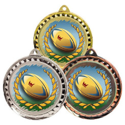 TW20-127-MD077GG / 60mm Colour Print Sports Medal - Rugby