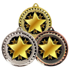 TW20-127-MD081GG / 60mm Colour Print Sports Medal - Star