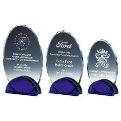 TW20-191-T.3641G / Glass Oval Award on Blue Stand