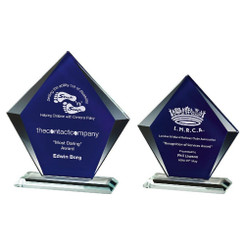TW20-193-T.3876G / Clear/Blue Glass Diamond Stand Award