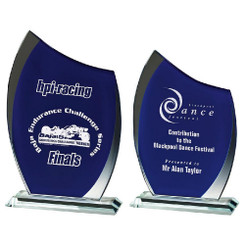 TW20-193-T.3878G / Clear/Blue Glass Curve Award
