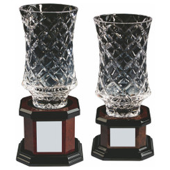 TW20-209-KL828G / Lead Crystal Vase Award on Wood Base