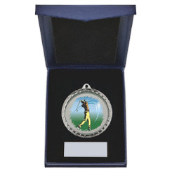 TW20-163-867AG / 60mm Silver Male Golf Medal in Case