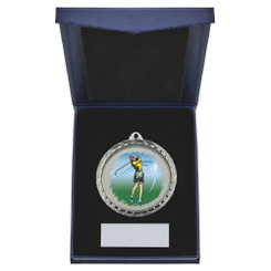 TW20-163-868CG / 60mm Silver Female Golf Medal in Case