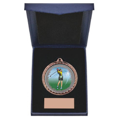 TW20-163-868CG / 60mm Bronze Female Golf Medal in Case