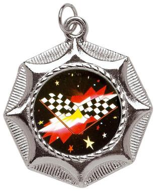 45mm Star Design Sports Medal - Silver