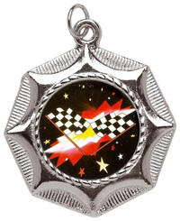 45mm Star Design Sports Medal - Silver
