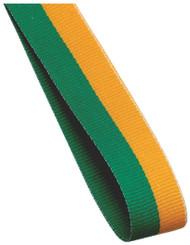 22mm Width Medal Ribbon - Green/Gold