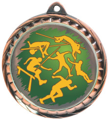 60mm Colour Print Sports Medal - Athletics - Bronze