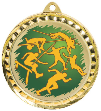 60mm Colour Print Sports Medal - Athletics - Gold