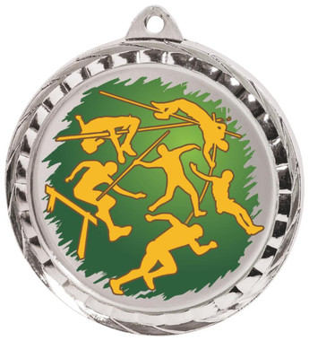 60mm Colour Print Sports Medal - Athletics - Silver