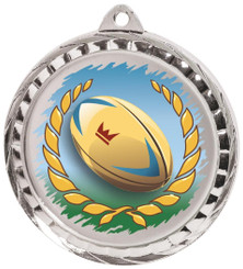 60mm Colour Print Sports Medal - Rugby - Silver