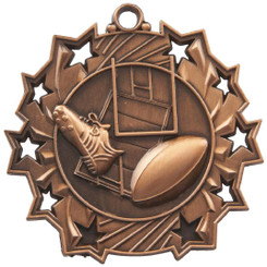 60mm Stars Rugby Medal - Bronze