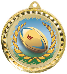 60mm Colour Print Sports Medal - Rugby - Gold