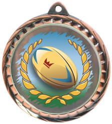 60mm Colour Print Sports Medal - Rugby - Bronze