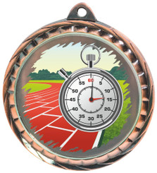 60mm Colour Print Sports Medal - Running - Bronze