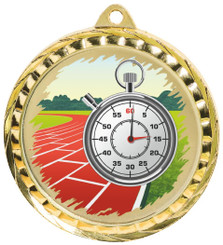 60mm Colour Print Sports Medal - Running - Gold