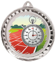 60mm Colour Print Sports Medal - Running - Silver