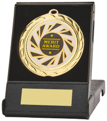 70mm Sun Burst Medal in Black Case - Gold